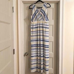 Kim Rogers blue & yellow striped maxi dress Sz L